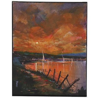 "Douglas ""Bumo"" Johnpeer Oil Painting ""Evening Sail"""