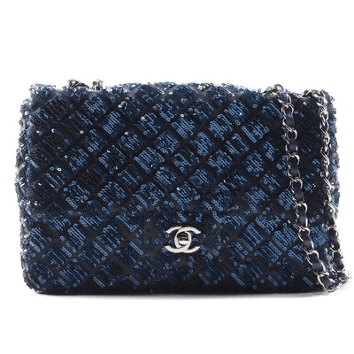 Chanel Dark Blue Sequined Classic Flap Shoulder Bag