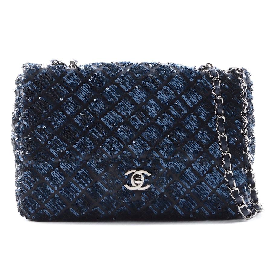 Chanel Dark Blue Sequined Classic Flap Shoulder Bag