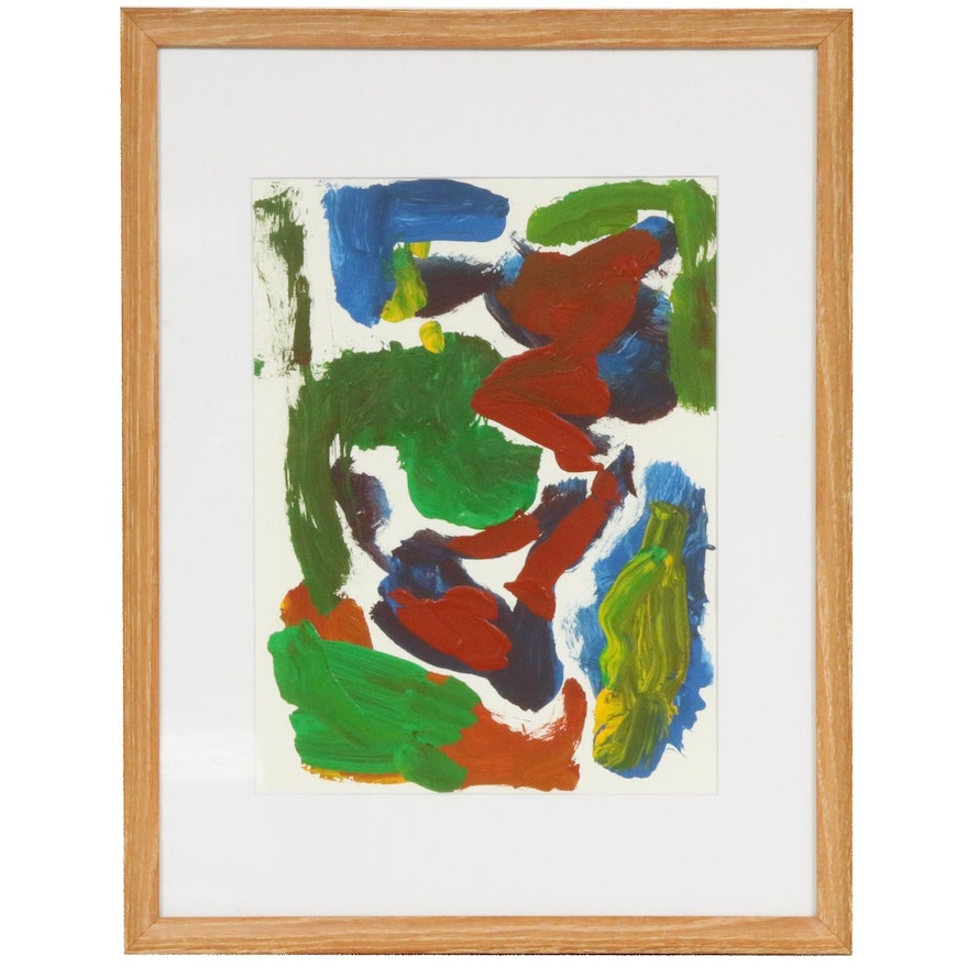 Paul Chidlaw Abstract Acrylic Painting, Mid to Late 20th Century