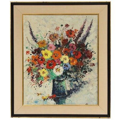 Oil Painting of Floral Still Life, Mid-20th Century