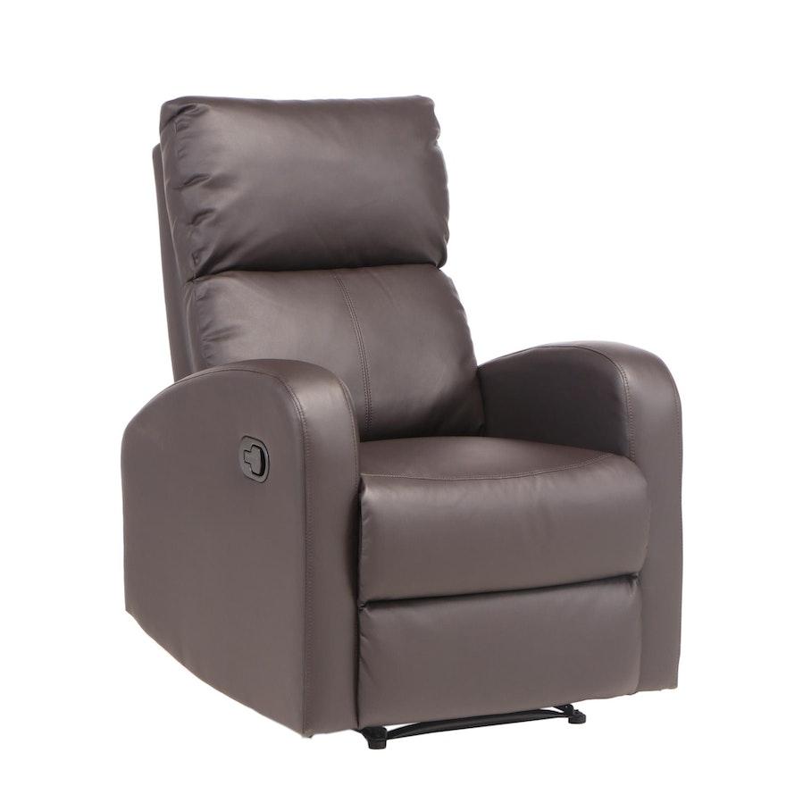 Vinyl Upholstered Manual Recliner Chair
