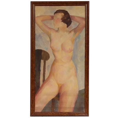 Paul Winchell Female Nude Study Oil Painting, Early to Mid 20th Century
