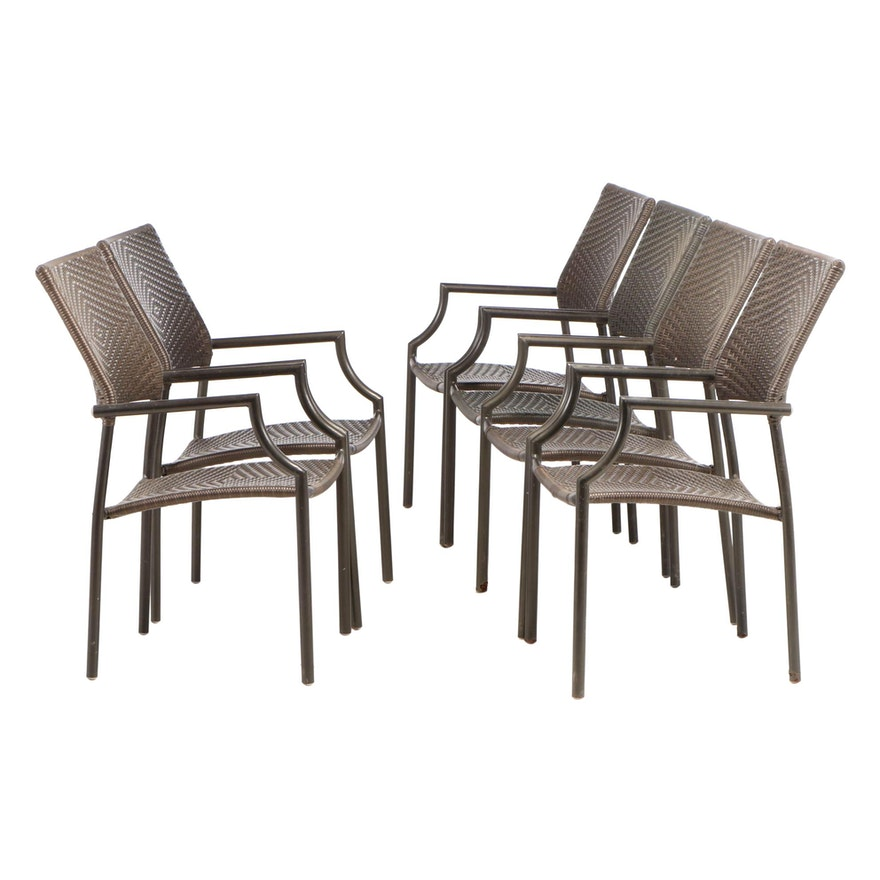 Six Synthetic Woven Patio Arm Chairs