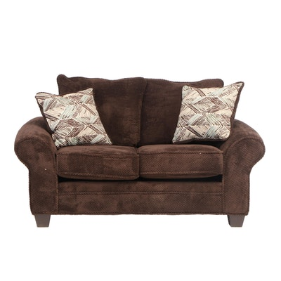 Brown Upholstered Loveseat
