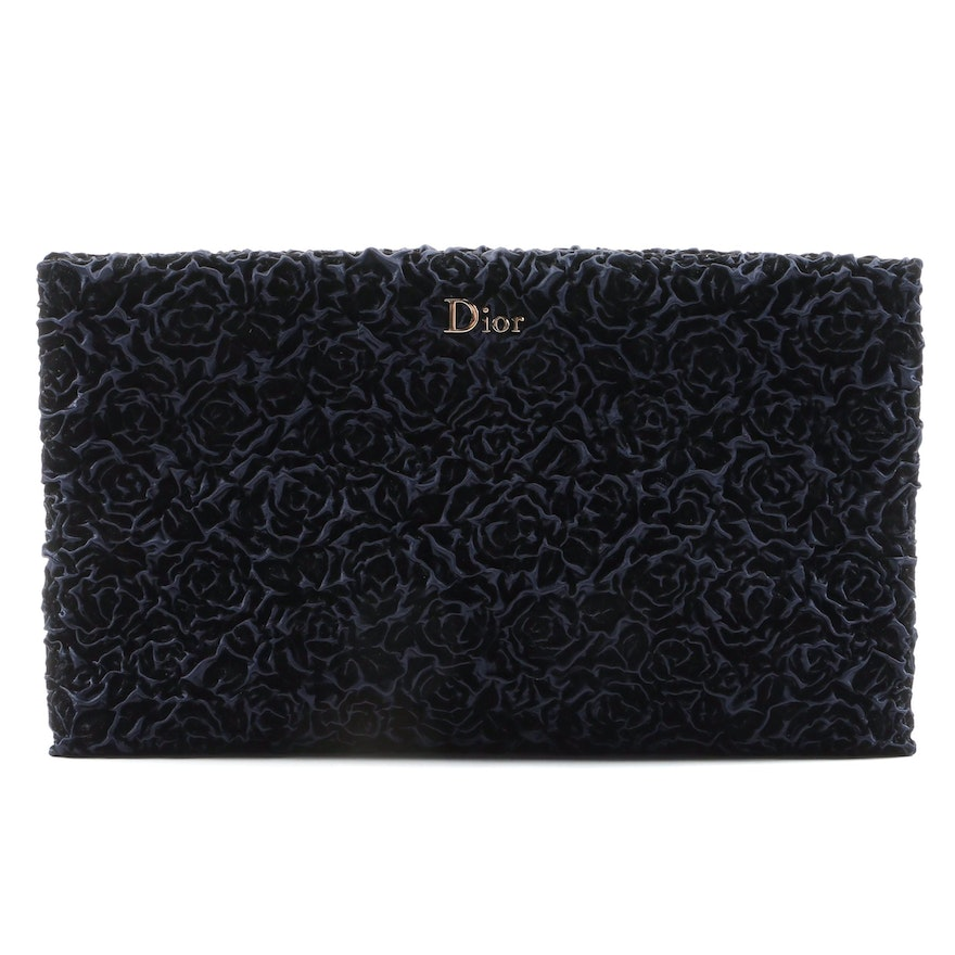 Christian Dior Midnight Blue Blooming Clutch with Gift Bag Signed by Susan Lucci