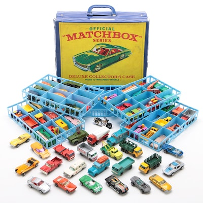 """Lesney """"Matchbox"""" and Other Diecast Model Toy Cars in Vinyl Case, Vintage"""