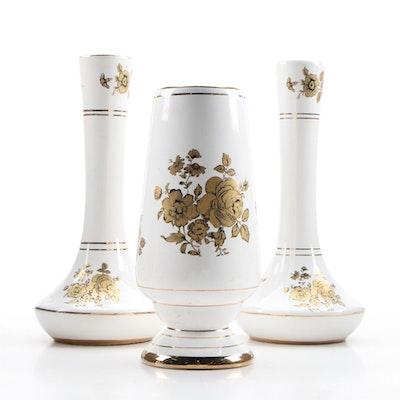 Greek 24K Gold Decorated Ceramic Vases, Mid-20th Century