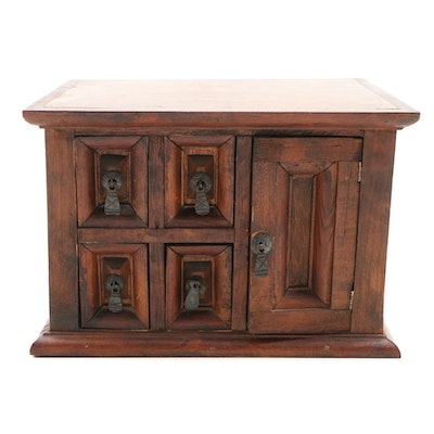 Mexican Carved Wood Four-Drawer Tabletop Cabinet, Late 20th Century