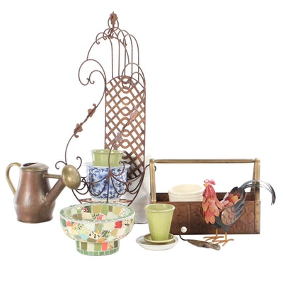Wrought Iron Plant Holder, Copper Watering Can, and Other Garden Accessories