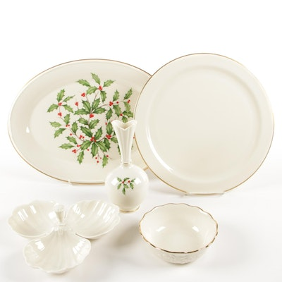 "Lenox ""Holiday"" Oval Platter and Vase with Other Lenox Porcelain Serveware"