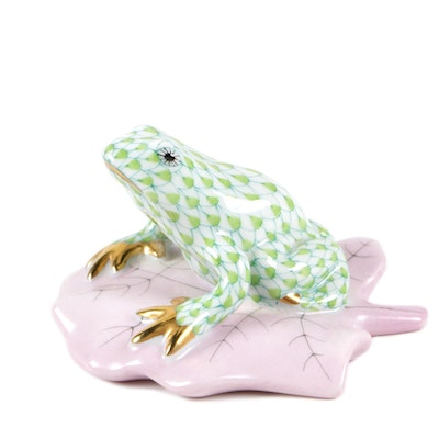 "Herend Lime Green Fishnet with Gold ""Frog on Lily Pad"" Porcelain Figurine"