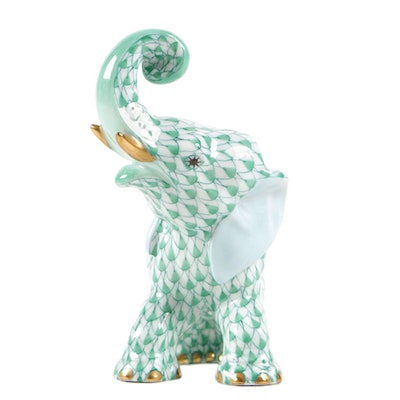 "Herend Green Fishnet with Gold ""Elephant"" Porcelain Figurine, June 1996"