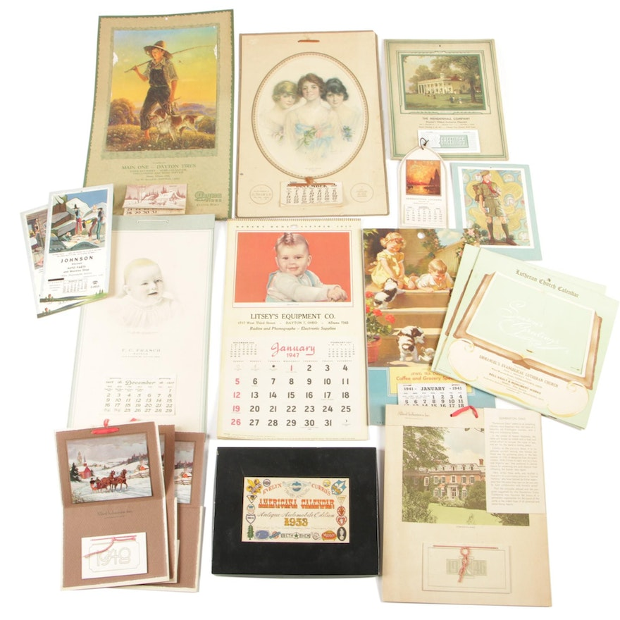 Wall and Easel Promotional Calendars, Early to Mid 20th Century