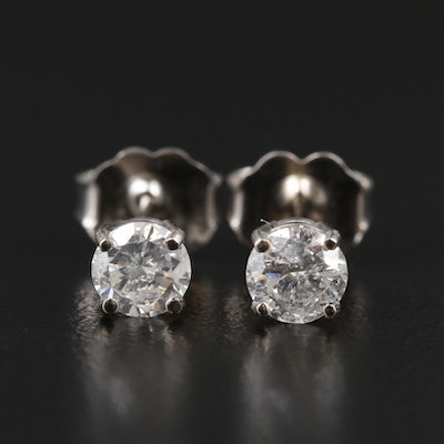 14K White Gold 0.48 CTW Diamond Stud Earrings