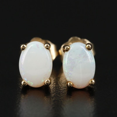 10K Yellow Gold Opal Earrings
