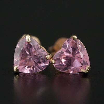 10K Yellow Gold Cubic Zirconia Heart Stud Earrings