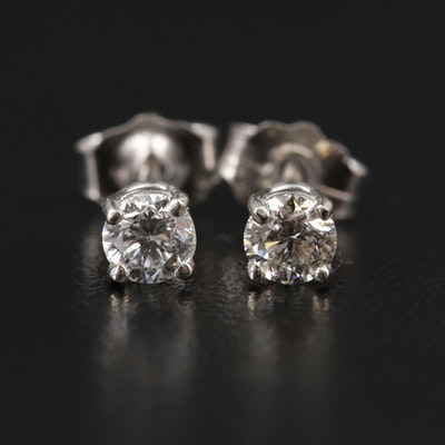 14K White Gold 0.32 CTW Diamond Stud Earrings