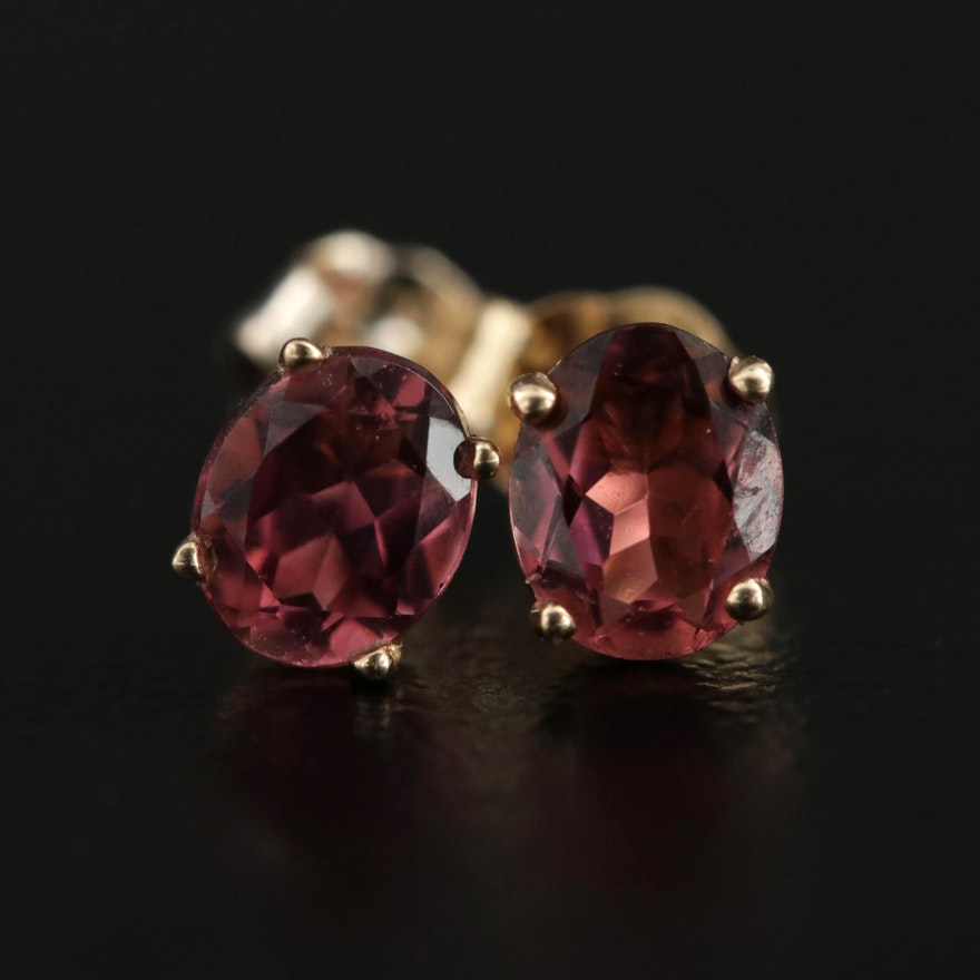 10K Yellow Gold Pink Tourmaline Stud Earrings