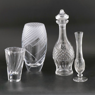 "Crystal Decanter and Vases Including Waterford ""Colleen"""