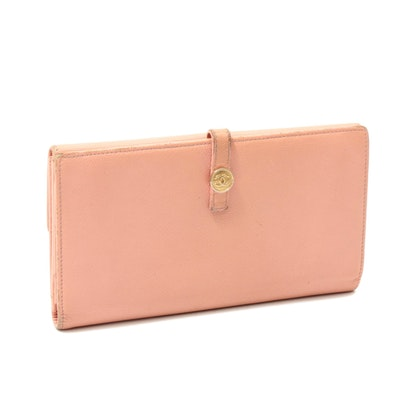 Chanel Pink Caviar Leather Long Wallet