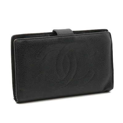 Chanel CC Black Caviar Leather Wallet