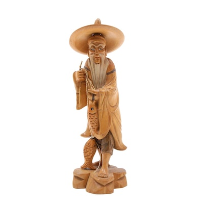 Chinese Carved Wood Fisherman Figurine