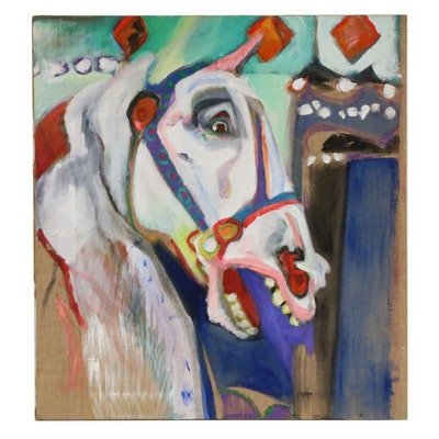 Carousel Horse Oil Painting