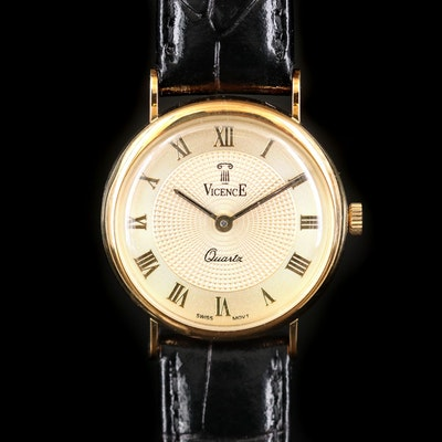 Vicence 14K Yellow Gold Quartz Wristwatch