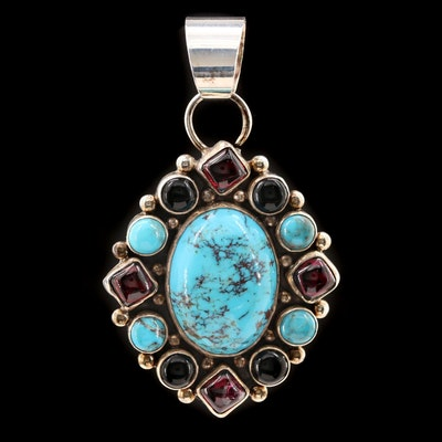 Southwestern Sterling Silver Turquoise, Rhodonite and Black Onyx Pendant