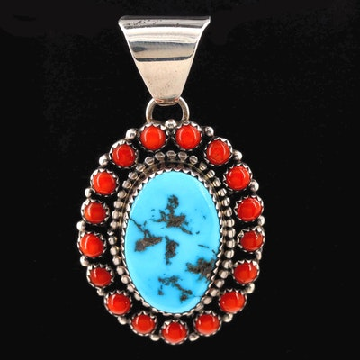 Bea Tom Navajo Diné Sterling Silver Turquoise and Coral Pendant