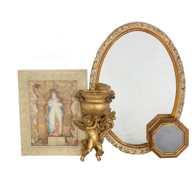 Gilt Wall Mirror, Angel Sconce and Virgin Mary Wall Decor