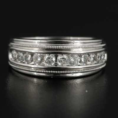 14K White Gold 1.03 CTW Diamond Tapered Band