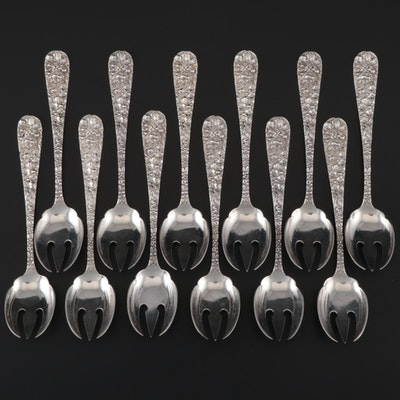 "Stieff Sterling Silver ""Stieff Rose"" Ice Cream Forks, Set of Twelve"