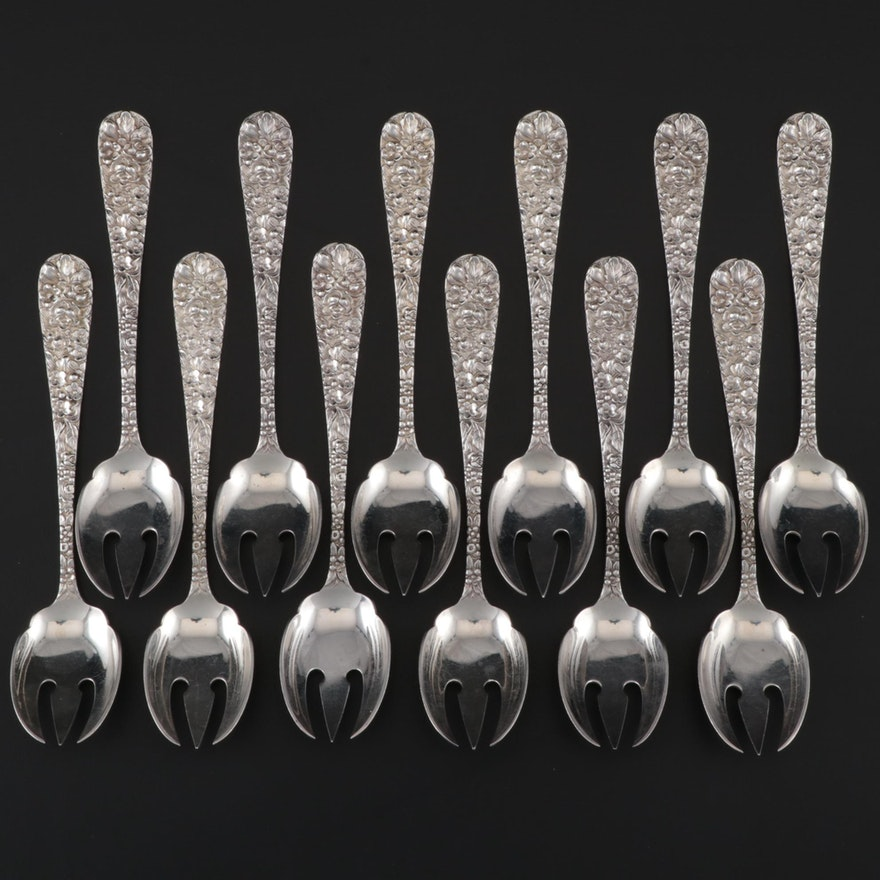 "Stieff Sterling Silver ""Stieff Rose"" Ice Cream Forks, Set of Twelve"