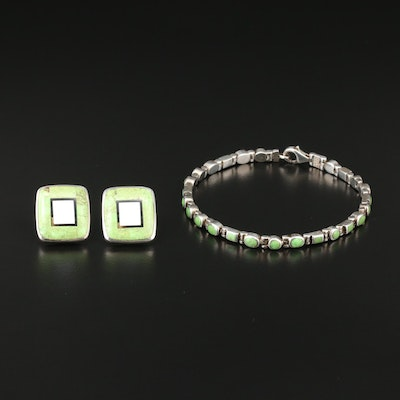 Sterling Silver Gaspeite, Mother of Pearl and Black Onyx Earrings and Bracelet