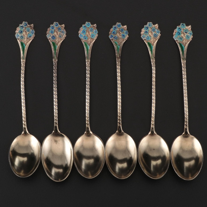 Gorham Gold Wash Sterling Silver Enameled Demitasse Spoons