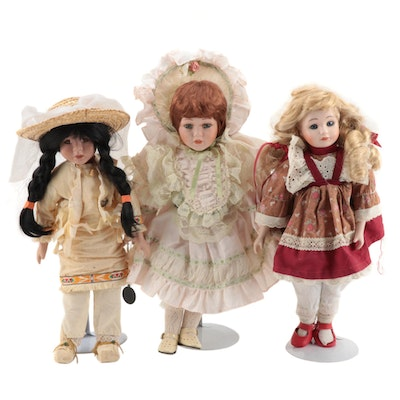 Porcelain Dolls Including Brinn Limited Edition Doll, Late 20th Century
