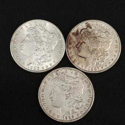1886, 1887 and 1888 Morgan Silver Dollars