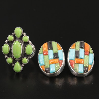 Roie Jaque Navajo Sterling Silver Gemstone Ring and Earrings Including Turquoise