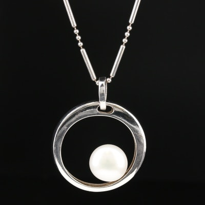 Sterling Silver Cultured Pearl Pendant Necklace