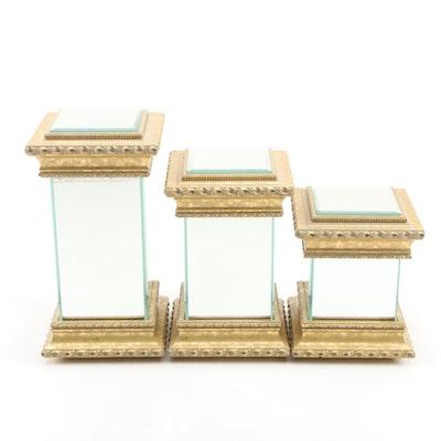 Contemporary T. Laro Mirrored Display Pedestal Accent Decor Set