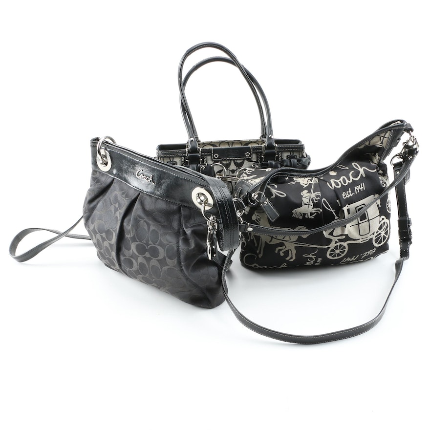 Coach Signature and Horse Carriage Motif Shoulder Bags