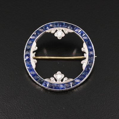 Art Deco 14K and Platinum Sapphire and Diamond Circle Brooch