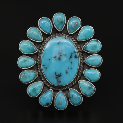 Southwestern Style Signed Sterling Silver and Turquoise Ring
