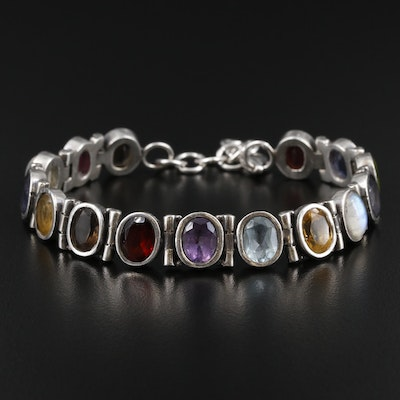 Sterling Silver Bracelet with Rainbow Moonstone, Iolite and Peridot