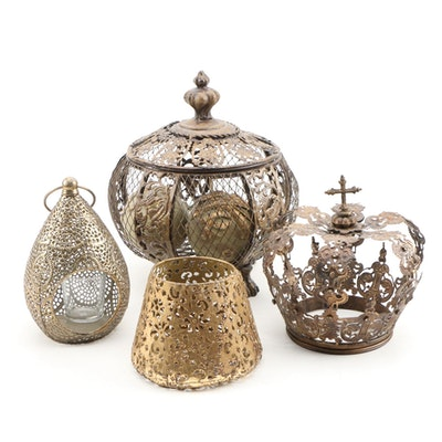 Decorative Pierced Metal Candleholders and Decor, Contemporary