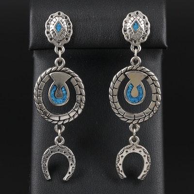 Southwestern Turquoise Pieces in Resin Horseshoe Motif Drop Earrings