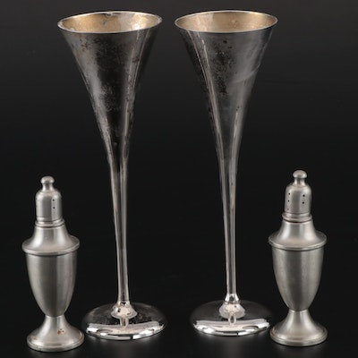 Links of London Silver Plate Toasting Flutes with Web Pewter Shakers