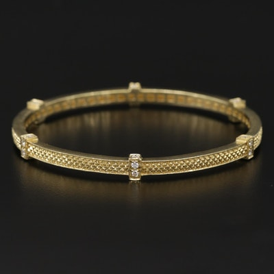 Judith Ripka 18K Yellow Gold Diamond Station Bangle Bracelet